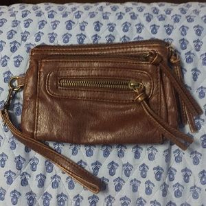Brown leather type wristlet